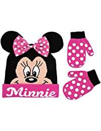 Toddler Girls Minnie Mouse Winter Hat and Mitten Set, Age...