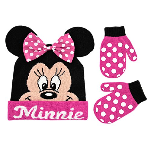 r Girls Gloves, Black/Pink Minnie Mouse Bowtique Beanie Hat/Mitten Set, Age 2-4 ()