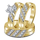 Smjewels 1.35 Ct Diamond 3 Piece Trio Engagement Ring Set 14k Yellow Gold Fn .925 Silver