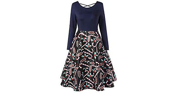 Amazon.com: Dacawin_Christmas Dresses Christmas Series Dress-Women Xmas Print Long Sleeve Casual Vintage Party Mini Dress: Furniture & Decor