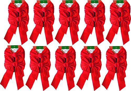 Red Velvet Christmas Bow 9-inch X 16-inch, 20 Pack of Holiday Bows (Red Holiday Wreath)