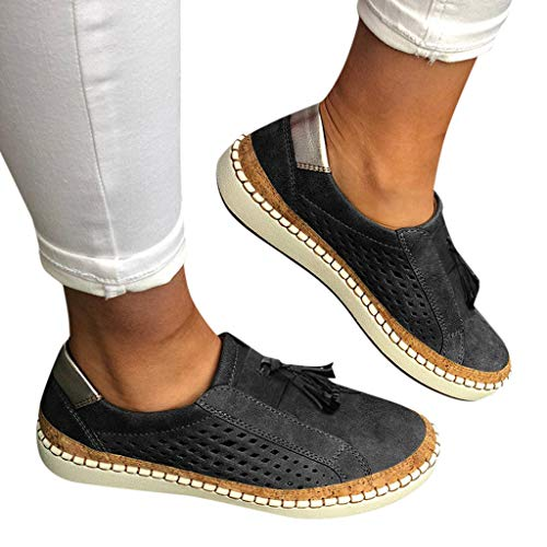 Womens Memory Foam Cushioned Insole Flat Shoes Hollow Out Casual Slip-On Driving Loafers Athletic Running Sneakers (US:8.5, Black 01)