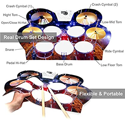 Rock And Roll It - Drum Live! Flexible, Completely Portable, battery OR USB powered drum that gives you the view of being on stage. Headphones + 2 Drum Sticks + Bass Drum & Hi hat pedals included!: Toys & Games