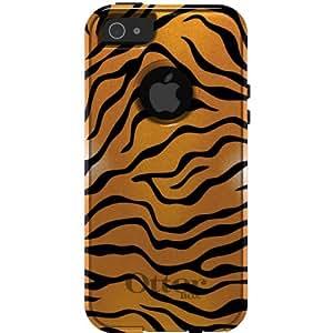 CUSTOM White OtterBox Commuter Series Case for Apple iPhone 5 / 5S - Orange Black White Tiger Skin