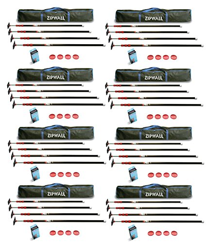 Spring Loaded Poles - ZipWall ZP4 10-Foot Spring-Loaded Poles For Dust Barriers (8-Pack)