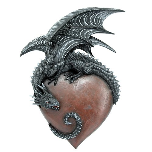 Large Resin Figurine (12 Inch Medieval Dragon on Large Heart Resin Statue Figurine)