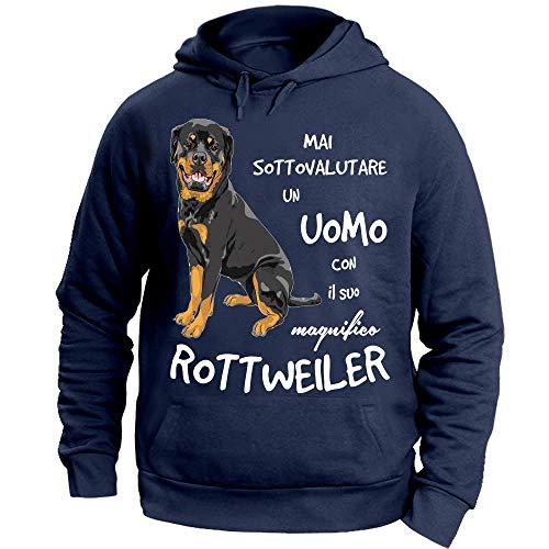 Felpa Il Sottovalutare Mai Un Suo Con Uomo Cappuccio Blu 12print Rottweiler 7nUAx0x