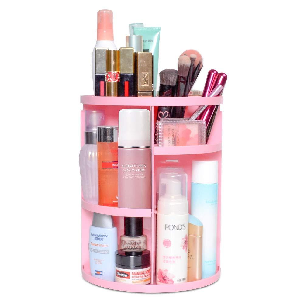 360 Rotating Makeup Organizer, DIY Adjustable Makeup Carousel Spinning Holder Storage Rack, Large Capacity Make up Caddy Shelf Cosmetics Organizer Box, Best for Countertop, Pink