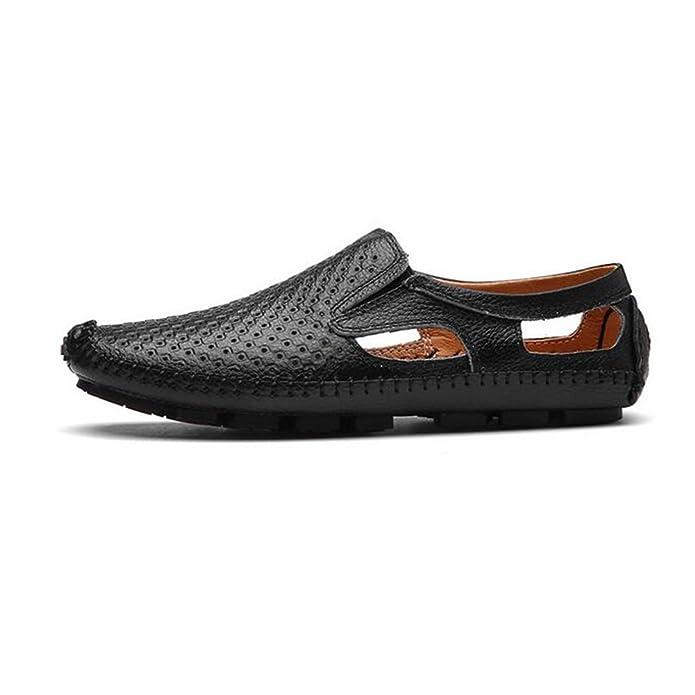 HUAN Hommes Chaussures en Cuir Automne Mocassins Mocassins et Slip-Ons Chaussures de Marche Pour les Chaussures de Conduite Décontractée (Color : Blanc, Taille : 43)