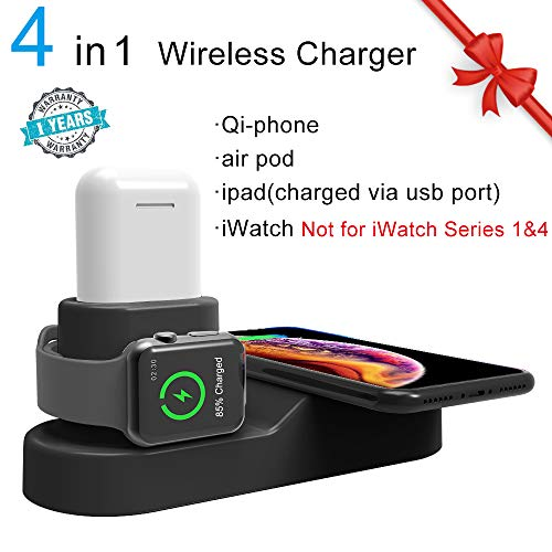 TECT Wireless Charger,4 in 1 Qi Wireless Charging Pad Stand,Compatible with iWatch Series 2/3/Nike+/Edition(Not 4&1),Airpods,iPhone XS/XR/X/8/8Plus,Samsung Galaxy S9/S9+/S8+/S7/Note 8/Nexus 7