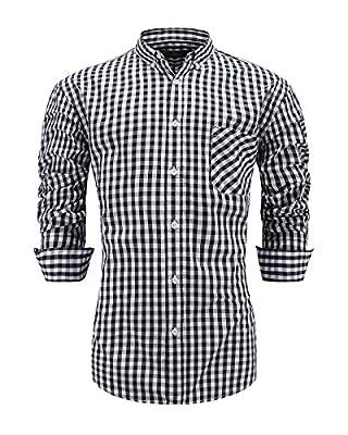 Emiqude Men's Slim Fit 100% Cotton Long Sleeve Plaid Button Down Dress Shirt