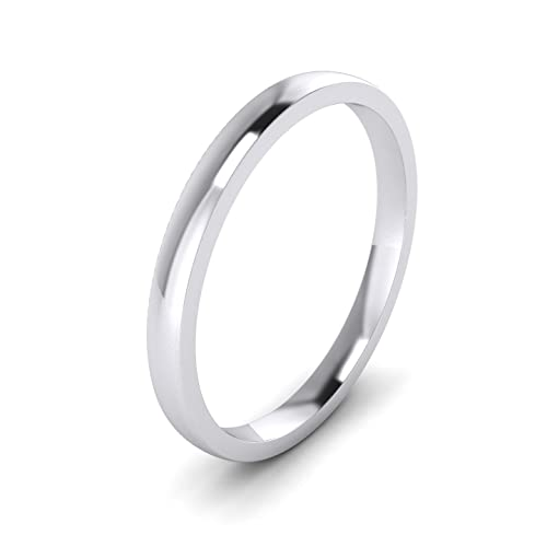 (G) - Unisex Sterling Silver 2mm Super Heavy Court Shape Polished Wedding Ring