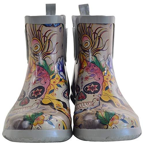 Anuschka Women's Ankle Rain Boot | Handmade Waterproof Natural Rubber | Memory Foam Insole | Calaveras de Azúcar | 10 M US