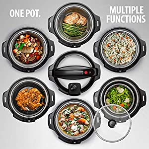 Deco-Chef-8-QT-10-in-1-Pressure-Cooker-Instant-Rice-Saut-Slow-Cook-Yogurt-Meats-Deserts-Soups-Stews-Includes-Recipe-Book-Tempered-Glass-Lid-Mitts-Grill-Rack-and-Steaming-Basket