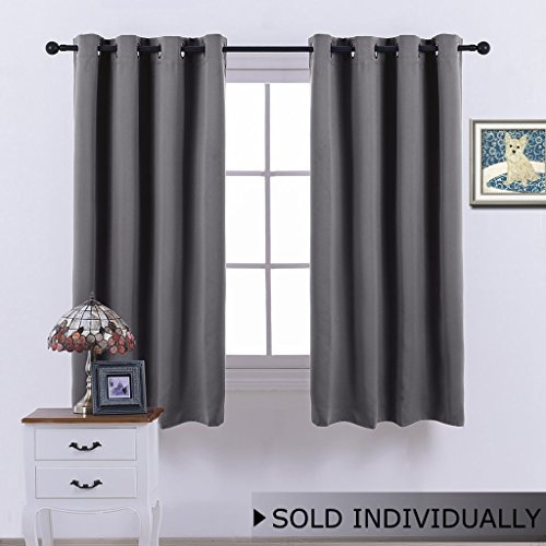 Attractive NICETOWN Blackout Curtain Window Treatment Panel Drape   (Grey Color)   W52  X L63 Inch ,8 Grommets / Rings Top ,1 Panel Intended Short Blackout Curtains
