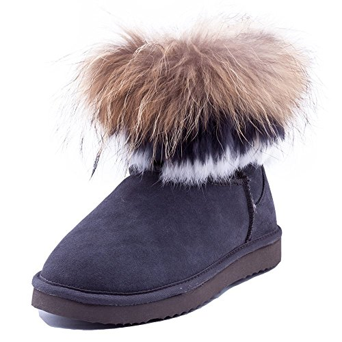 Oppicong The comfortable and popular Women's Cowhide Short Snow Snow Snow Boots with Fox&Rabbit Fur Trim 9258 In Winter B01KLNZ0AU Shoes f09e90