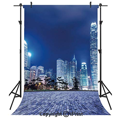 Urban Photography Backdrops,Hong Kong Skyline Night Architectural Cityscape Skyscrapers Modern Photo,Birthday Party Seamless Photo Studio Booth Background Banner 5x7ft,Royal Blue Purplegrey ()