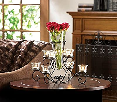 Scrollwork Candle Stand Centerpiece With Vase Black Iron 8 Cup Candelabra