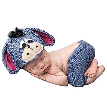 e00f8aa89 Memorz Newborn Infant Girl Boy Crochet Knit Costume Dog Photo Outfits  Clothes Cap Prop (Dark Blue)