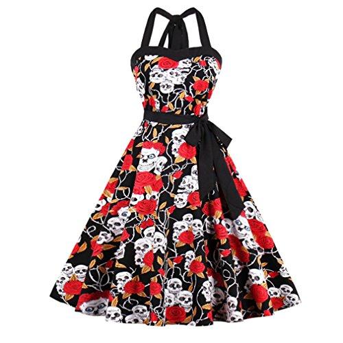 Se apresuraron Spandex Algodón Vintage una oficina online vestidos moda mujer Halter vestido de verano de Hepburn Polka Swing vestidos Rojo