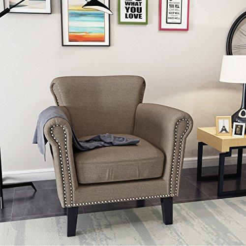 Studded Scroll (Brently Vintage Scroll Arm Studded Light Coffee Fabric Club Chair)