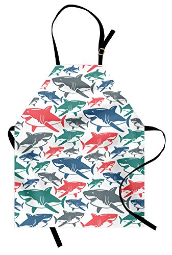 Ambesonne Shark Apron, Mix of Colorful Bull