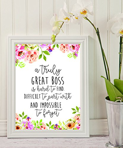 Boss Gift - A truly great boss is hard to find - Office Gift - Office Décor - Going Away Retirement Gift - Personalized - Custom Quote Print - Gift for Boss – Special gift – Work Motivational Quote.