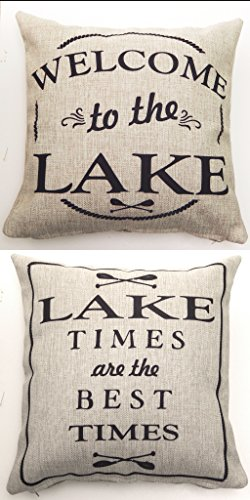 Evelyn Hope Collection Lake Mesage Quote Indoor-Outdoor Tan Throw Pillow-Lake Decor-Lake Gifts-Rustic Pillows