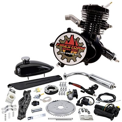 Zeda 80 Complete 80cc Bicycle Engine Kit - Firestorm Edition (Black (+$10.00),44 Tooth) ()
