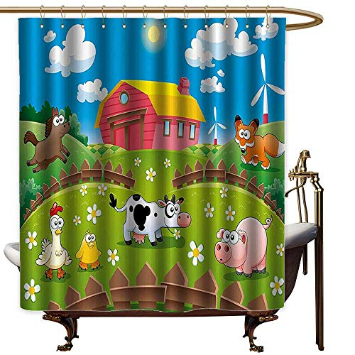 StarsART Shower Curtains for Bathroom Paisley Cartoon,Farm with Cow Fox Chicken Pig Horse in The Fences Countryside Rural Children Design,Multicolor,W48 x L72,Shower Curtain for Shower stall for $<!--$33.00-->