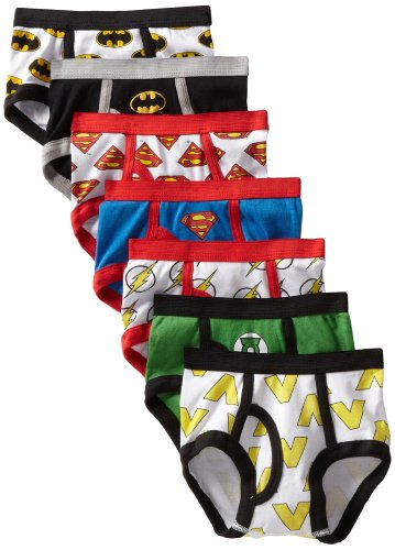 Handcraft Little Boys'  Justice League Logo Brief (Pack of 7), Assorted, 2T/3T