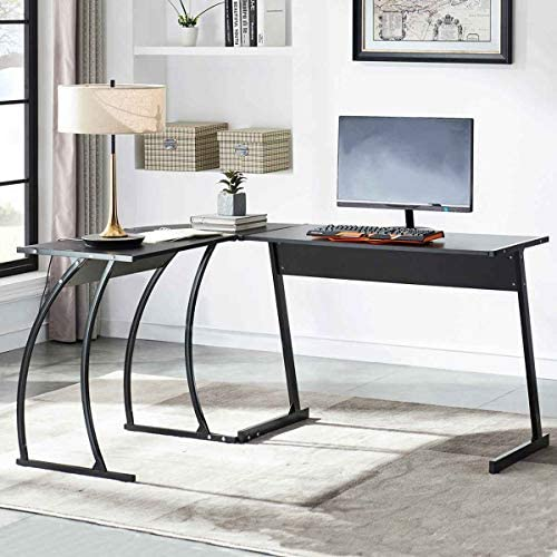 UnaFurni L Shaped Desk, L Corner Computer Desk for Workstation Home Office, Black