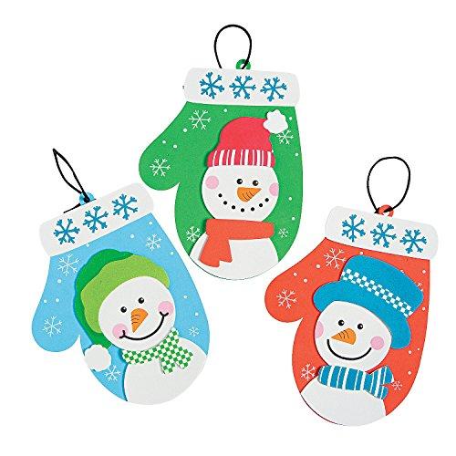 - Fun Express - Snowman Mitten Foam Ornament ck for Christmas - Craft Kits - Ornament Craft Kits - Foam - Christmas - 12 Pieces