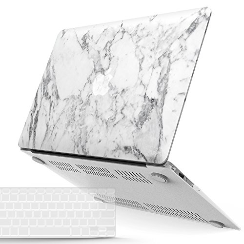 iBenzer MacBook Air 13 Inch Case, Soft Touch Hard Case Shell Cover with Keyboard Cover for Apple MacBook Air 13 A1369 1466, White Marble MMA1301WHMB+1
