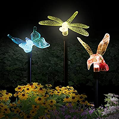 Solar Garden Lights,Hummingbird,Butterfly & Dragonfly Solar Garden Stake Light,Solar Powered Lights Outdoor Multi-color Changing LED Light,Solar Security Lights for Garden,Patio,Backyard(3 Pack)