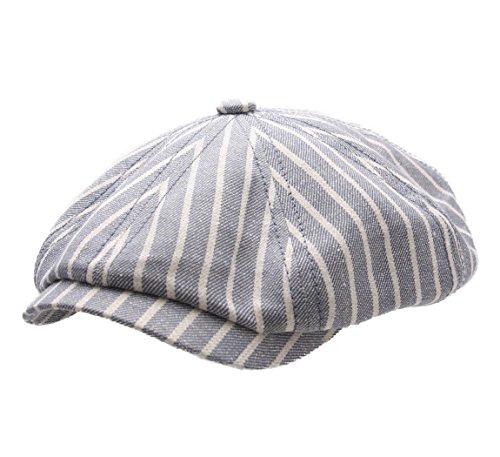 Stetson Hatteras Linen Stripe Flat Cap Size ()
