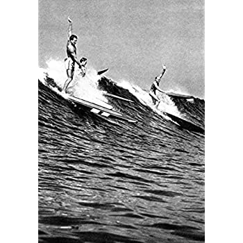 This item Surfing Poster, Hawaii 1930's, Hawaiian Surfers, Surf, Longboards, Vintage, Catching Waves