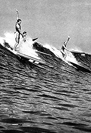 Surfing Poster, Hawaii 1930's, Hawaiian Surfers, Surf, Longboards, Vintage, Catching
