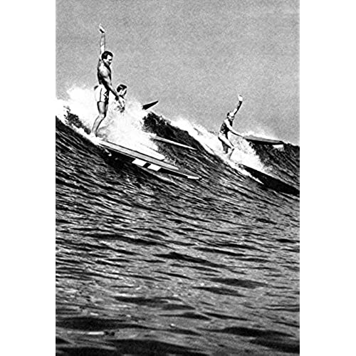 Surfing poster hawaii 1930s hawaiian surfers surf longboards vintage catching waves