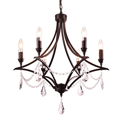 (mirrea Vintage Crystal Chandeliers Pendant Lights No Shade Oil Rubbed Dark Bronze 6 Lights of Candelabra Base)