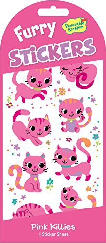 Peaceable Kingdom Furry Sticker Pack Pink Kitties Fuzzy Stickers