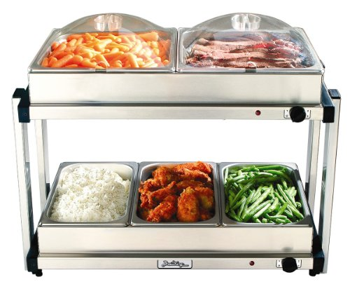 BroilKing MLB-25P Professional Multi-Level Buffet Server w/Stainless Base & Plastic Lids