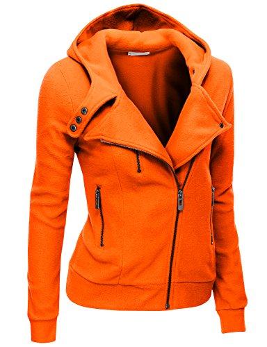Doublju Women&39s Fleece Zip-Up High Neck Jacket PWD005_Orange