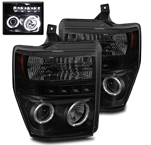 F550 Projector Headlights (ZMAUTOPARTS F250 F350 F450 F550 Super Duty Halo LED Projector Headlight Black/Smoke)