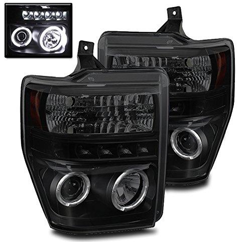 ZMAUTOPARTS F250 F350 F450 F550 Super Duty Halo LED Projector Headlight Black/Smoke
