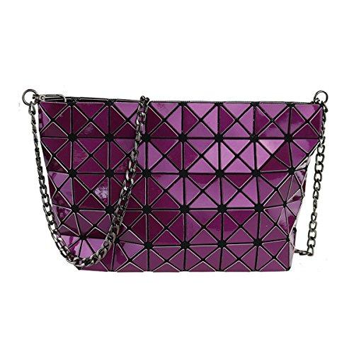 A Cross Borse Ladies Per Tracolla Pu Catena In body Split Donne Joint Geometrica Silver Plaid Pelle Diamond Lattice Le Purple Con Flada aqzAng4wa