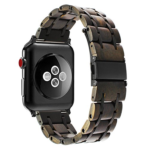 for Apple Watch 42mm 44mm Wooden Watch Band, TRUMiRR Natural Wood & Stainless Steel Watchband Wrist Strap Replacement Bracelet for iWatch 44mm Series 4,42mm Series 3 2 1 All Models
