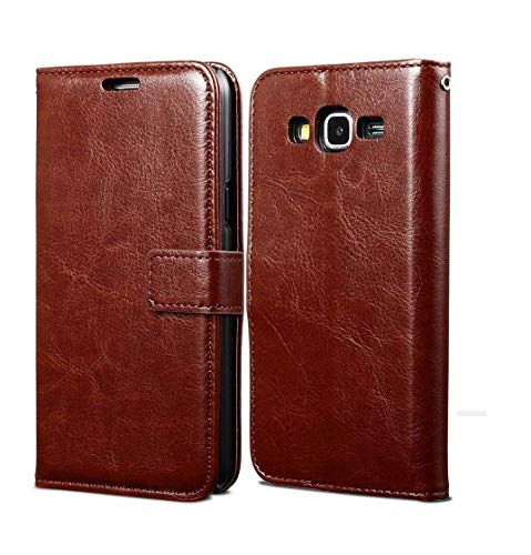 coverage vintage leather Flip Cover for samsung galaxy e7  old 2015   executive brown