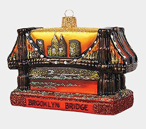 (Pinnacle Peak Trading Company Brooklyn Bridge New York City Polish Glass Christmas Ornament NYC Decoration)