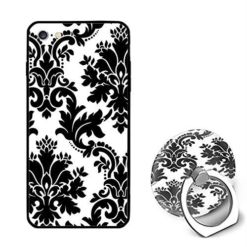 iPhone 6 Case,iPhone 6s Case,Damask Black Flower for Girls Women Best Protective Rubber with Ring Kickstand Compatible for iPhone 6/iPhone 6s]()